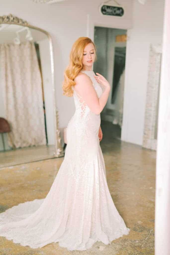 High-Neck-Lace-Fit-and-Flare-Gown