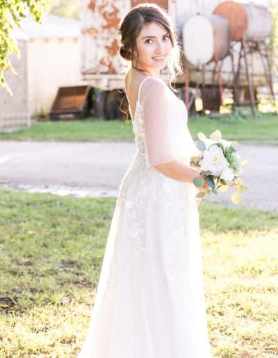 Bride at Barn Style Wedding