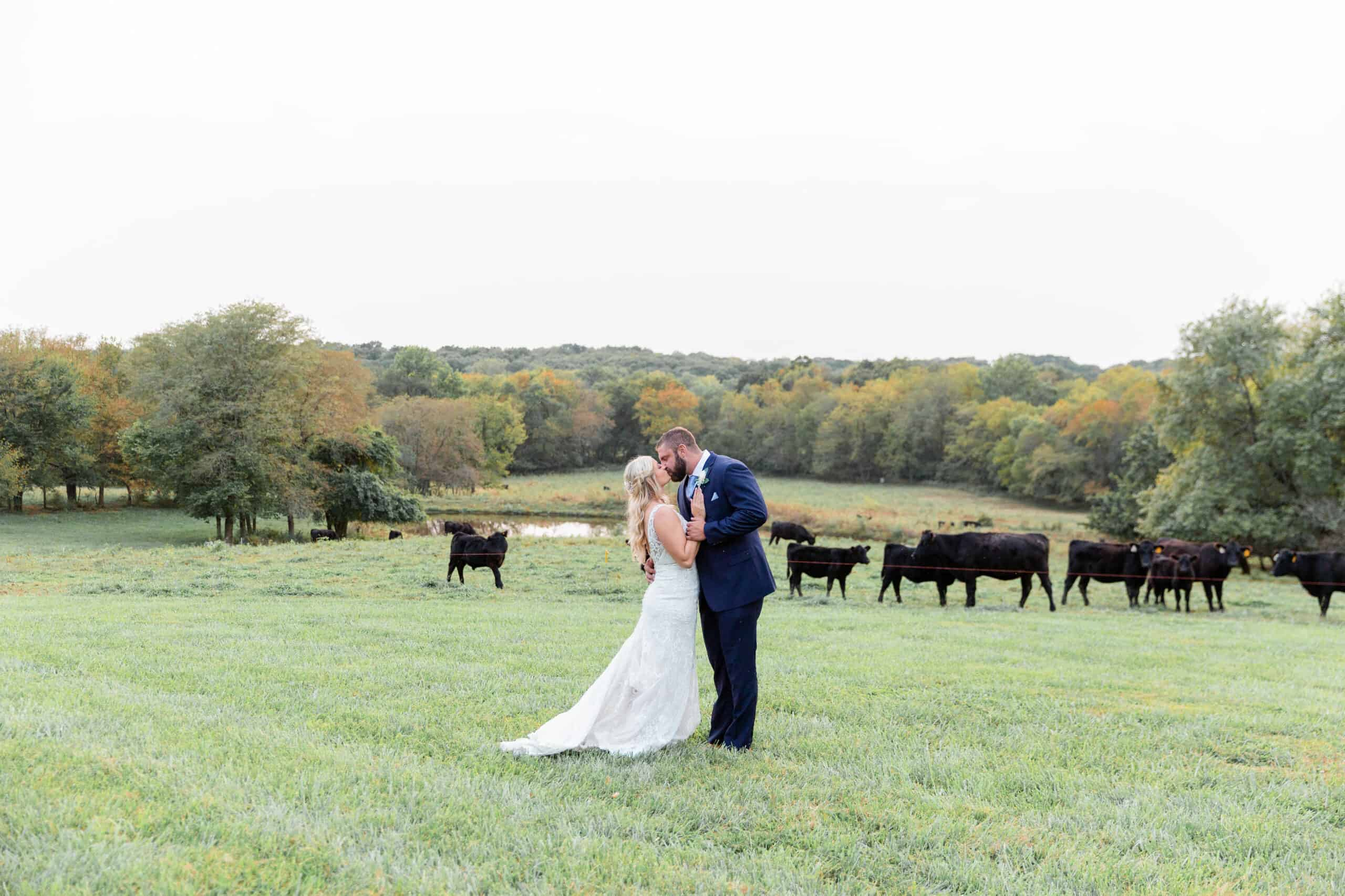 Couple Kissing in a Pasture