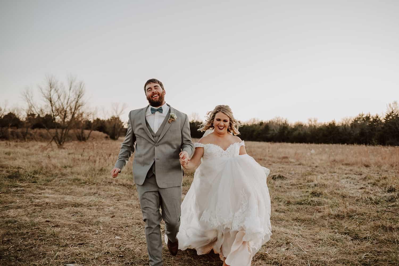 Happy Bride & Groom Running