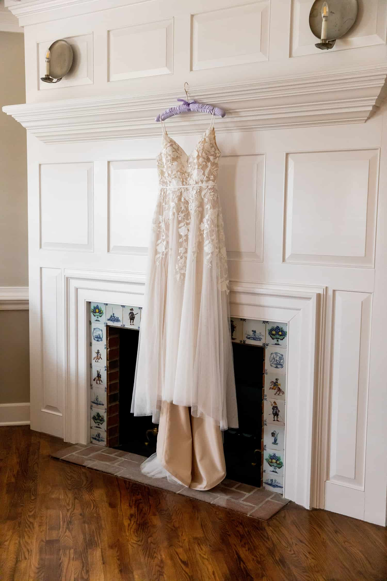 Wedding Dress on Fireplace
